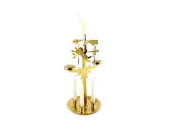 Änglaspel med 4 ljus, mässingpläterat stål, guld