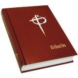 Bibel, konstskinn hård pärm, mörkröd