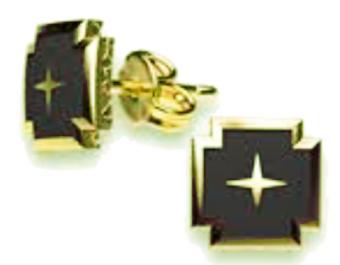 h10 Kors i svart emalj & guld