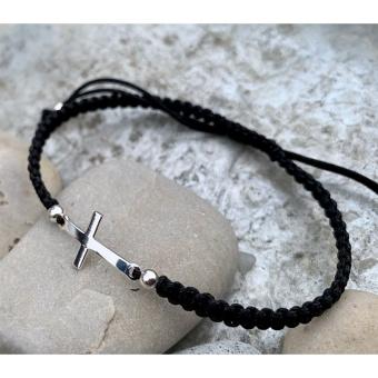 Armband, kors, svart