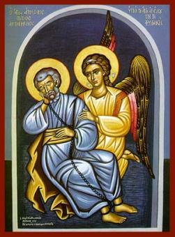 Aposteln Petrus i fängelset i Rom med ängeln