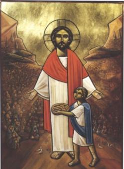 Fem bröd och två fiskar, , koptisk