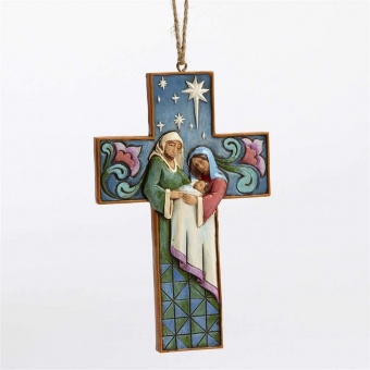 Cross Shaped Holy Family Hanging Ornament