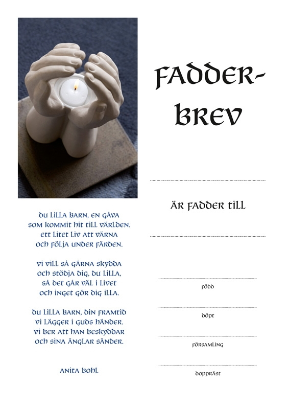 Fadderbrev - hand