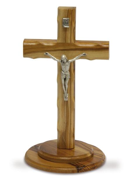 Krucifix med Corpus i metall, olivträ, inkl hållare, 16cm