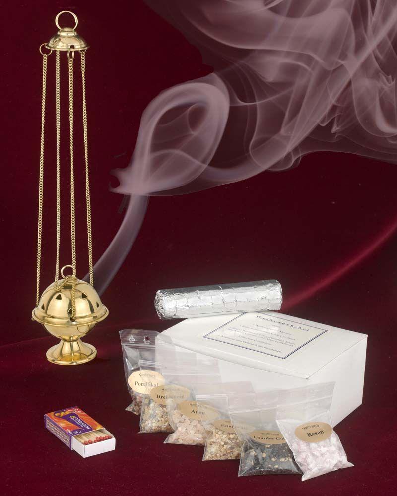 Mässingskar, rökelse, kol, tändstickor och manual