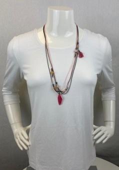 Halsband, tofs rosa