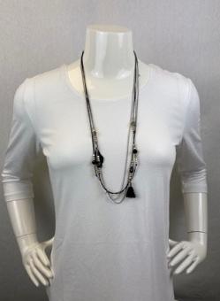 Halsband, tofs svart