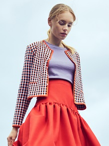 Oleana Gingham graph jacket 3D orange