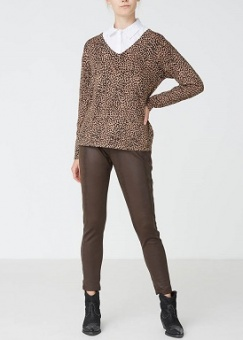 Byxa/tights Helena PU dark brown