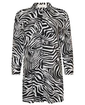 Långskjorta svart/vit mönstrad