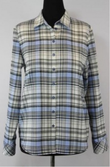 Skjorta, rutig ljusblå flanell