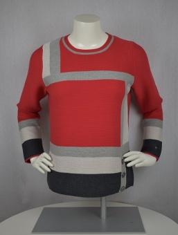 Pullover röd/grå