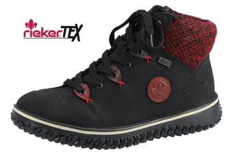 Riker boots svart/röd Vidd E½