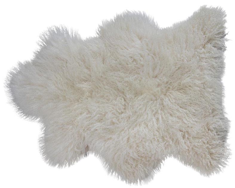 Leicester långhårigt fårskinn 1 skinn 100x60cm Vit