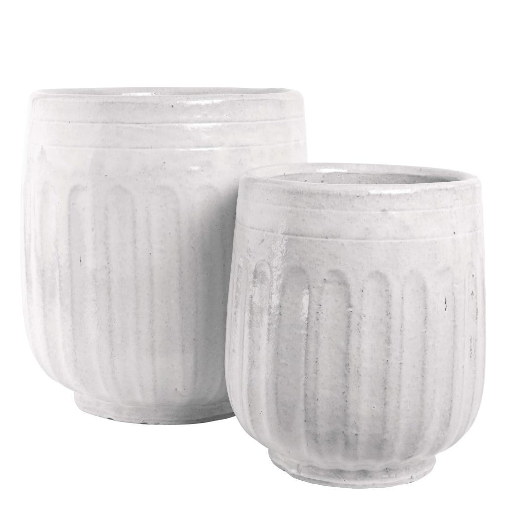 Kruka glaze-ribb White Ø31H39 Large