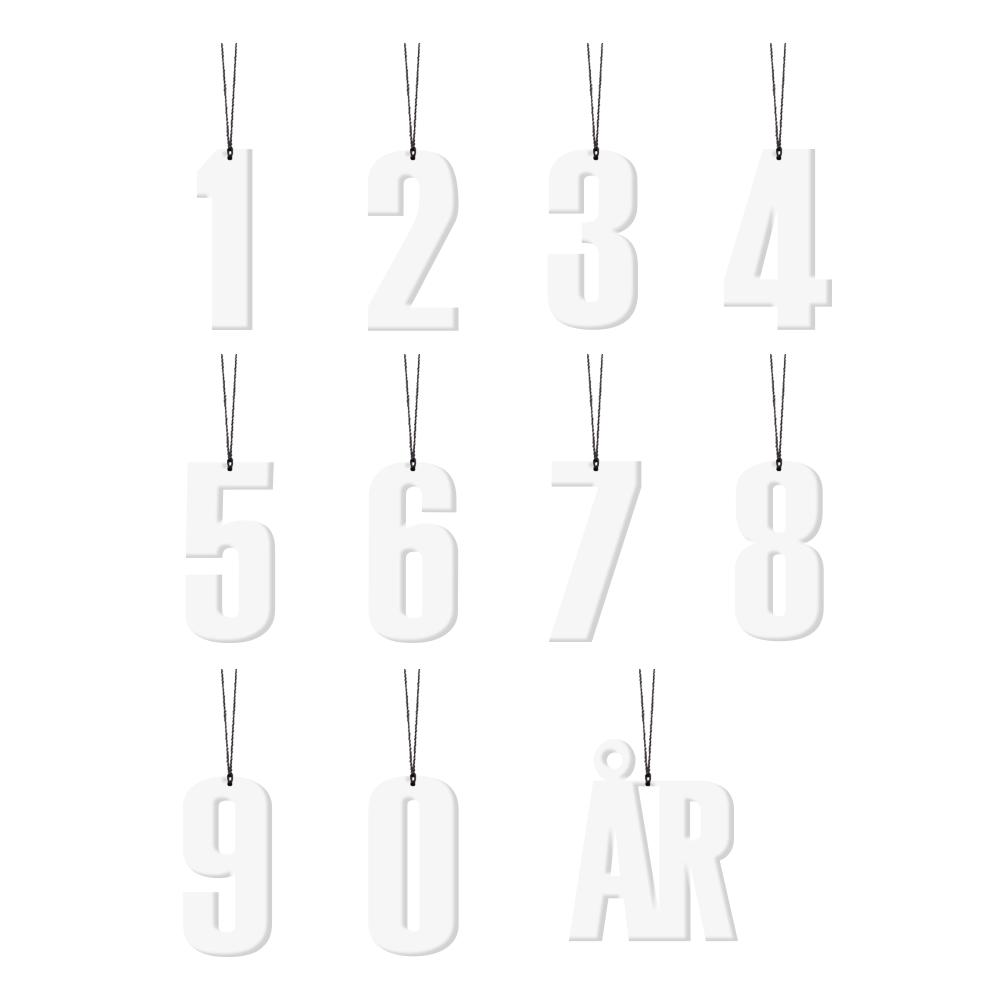 Felius Design Dekoration siffror 0-9 år Vit