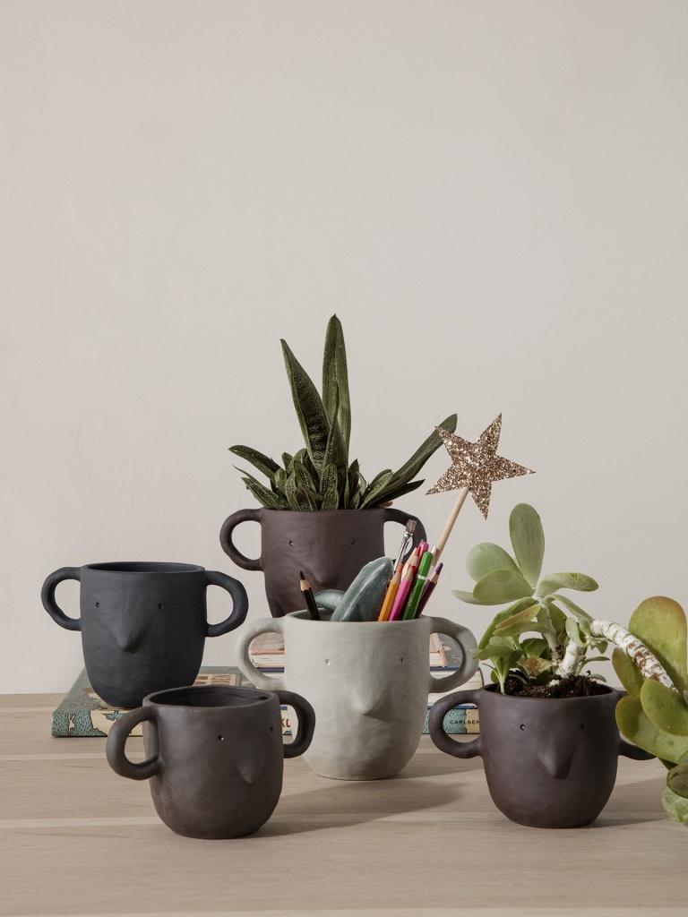 Ferm Living Mus Plant Pot Dark Grey
