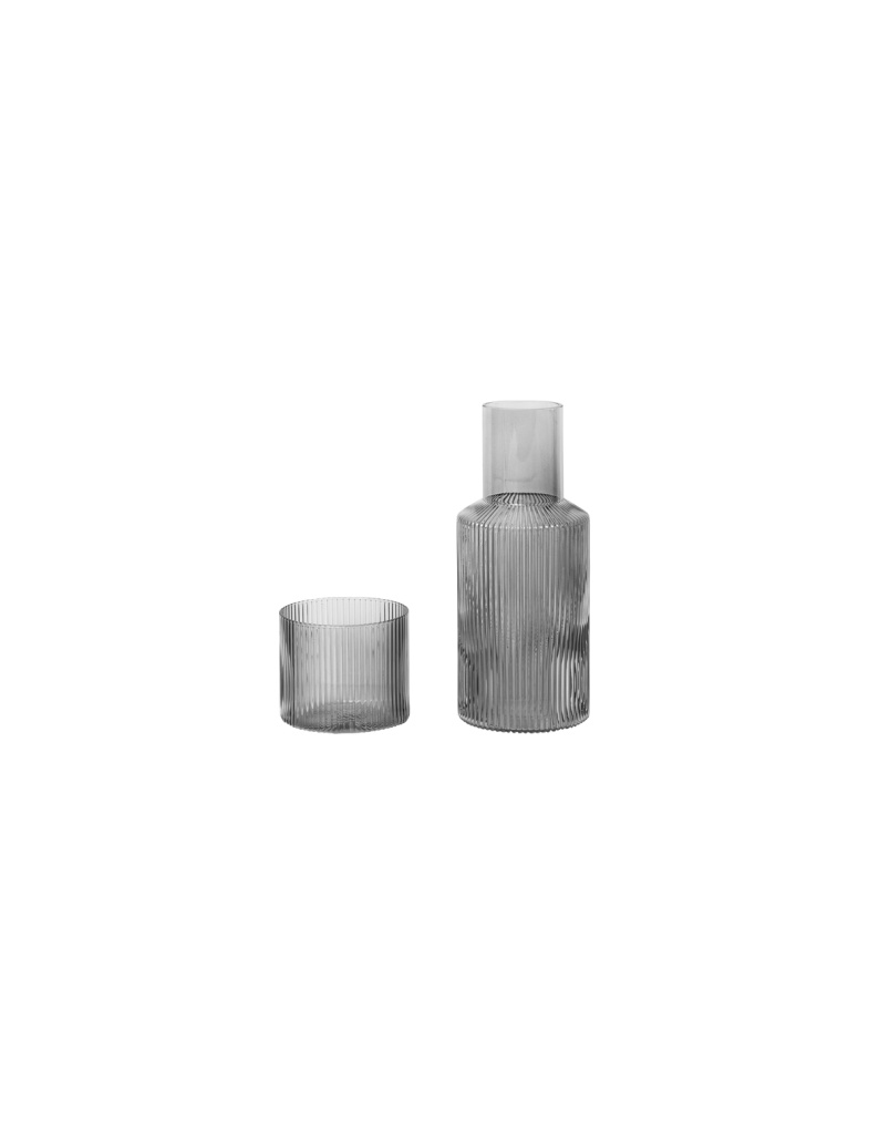 Ferm Living Ripple Small Carafe Set - Smoked Grey