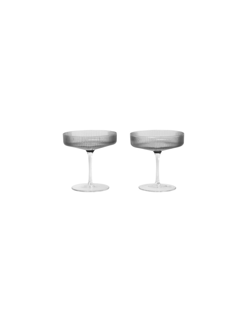 Ferm Living Ripple Champagne Saucer - Set of 2 - Smoked Grey