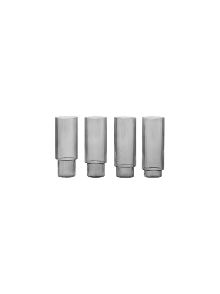 Ferm Living Ripple Long Drink Glass - Set of 4 - SmoKed Grey