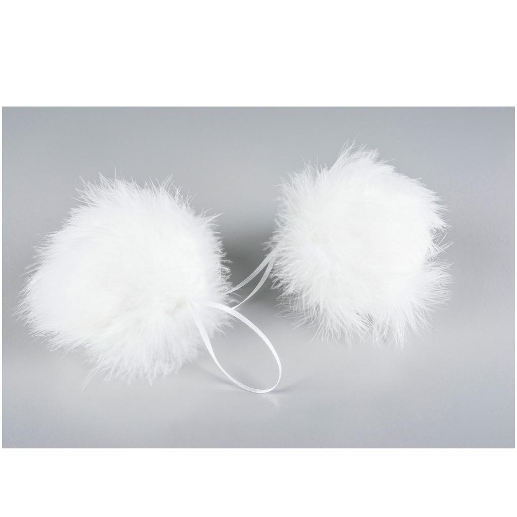 Dekoration Kula/fjäder Fluffy Vit 10 cm
