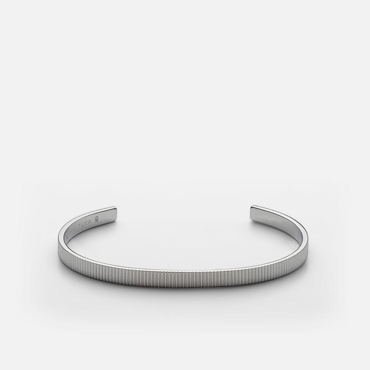 Skultuna Armband Ribbed Cuff Thin - Polished Steel