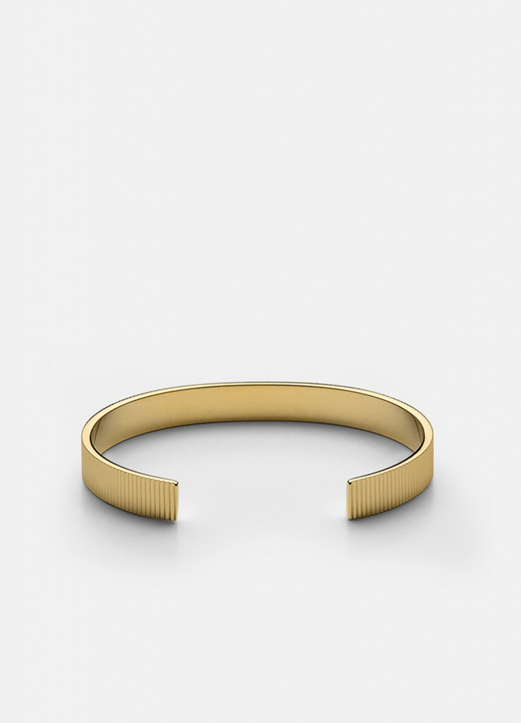 Skultuna Armband Ribbed Cuff 6mm - Gold