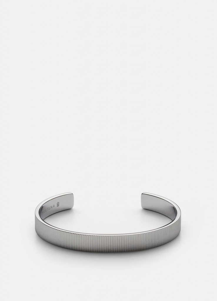 Skultuna Armband Ribbed Cuff 6mm - Polished Steel