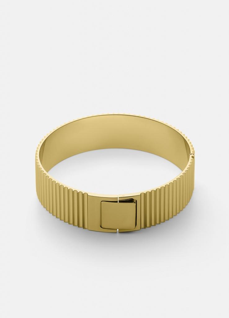 Skultuna Armband Ribbed Clasp Bangle Gold