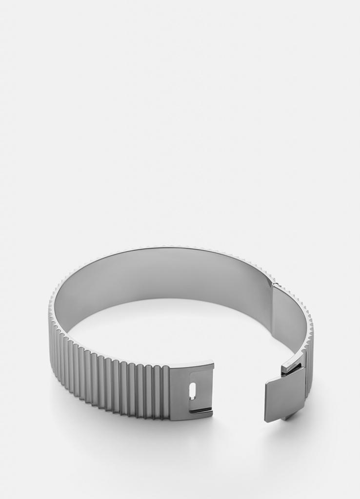 Skultuna Armband Ribbed Clasp Bangle Polished Steel