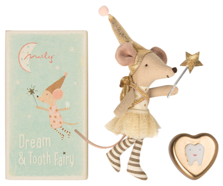 Maileg Mouse Tooth Fairy in Box Girl With metal heart