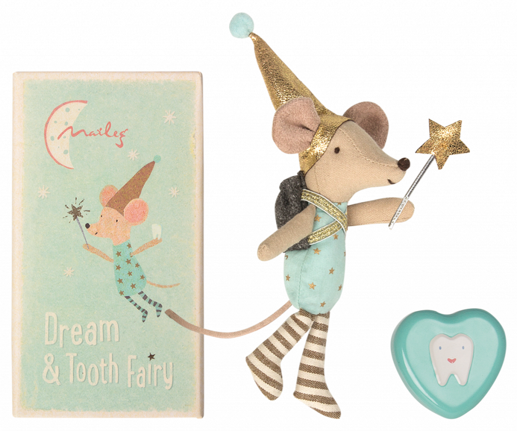Maileg Mouse Tooth Fairy in Box Boy With metal heart