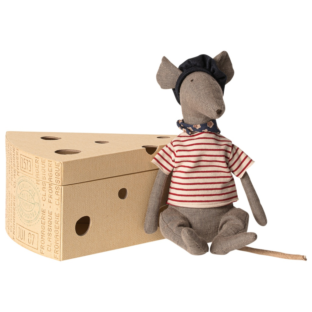 Maileg Rat in Cheese Box -Grey