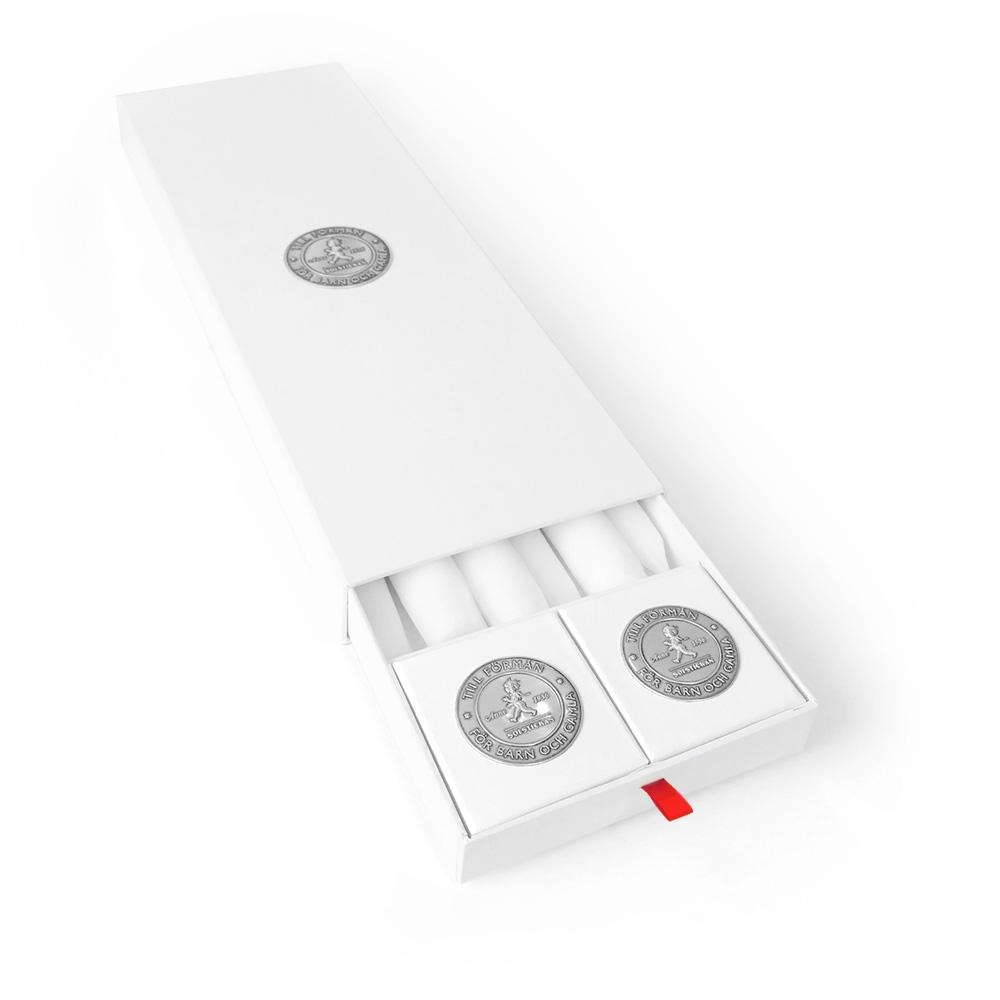 Solstickan Design Antikljus 6 pack + 2st ljushållare Försilvrade