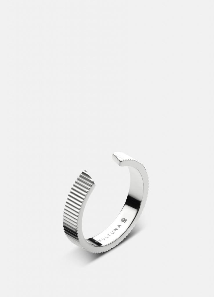 Skultuna Ribbed Ring - 3,85mm - Polished Steel