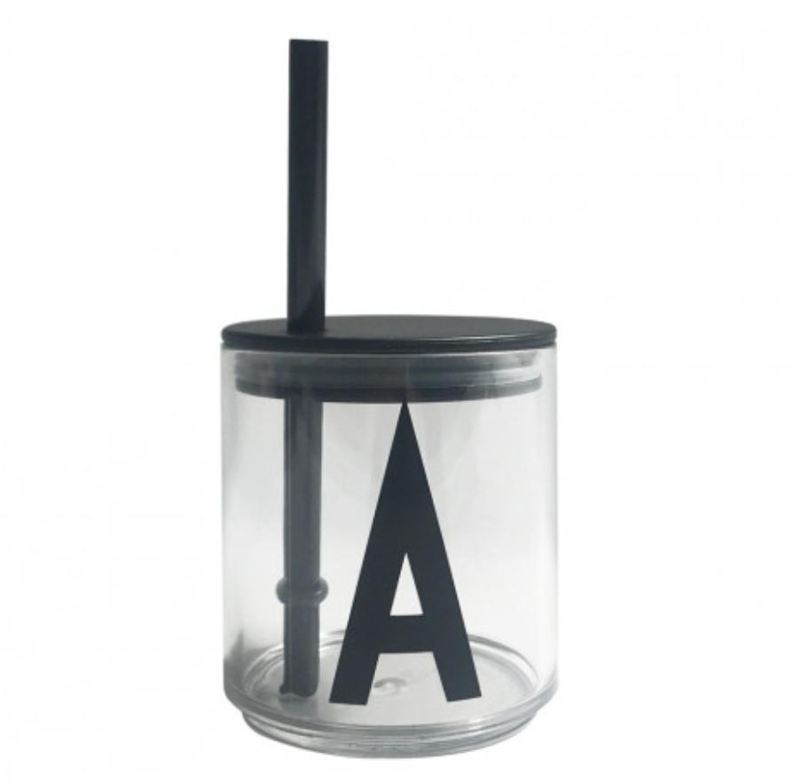 Design Letters Sugrör med lock Svart