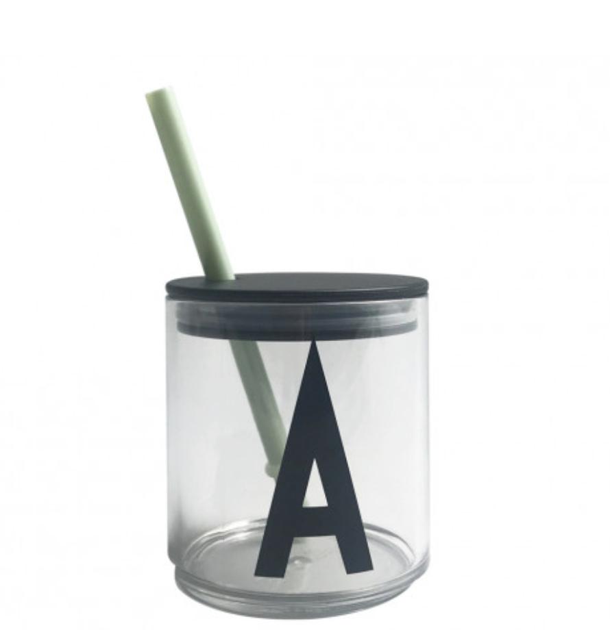Design Letters Sugrör med lock Green