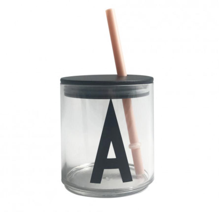 Design Letters Sugrör med lock Nude