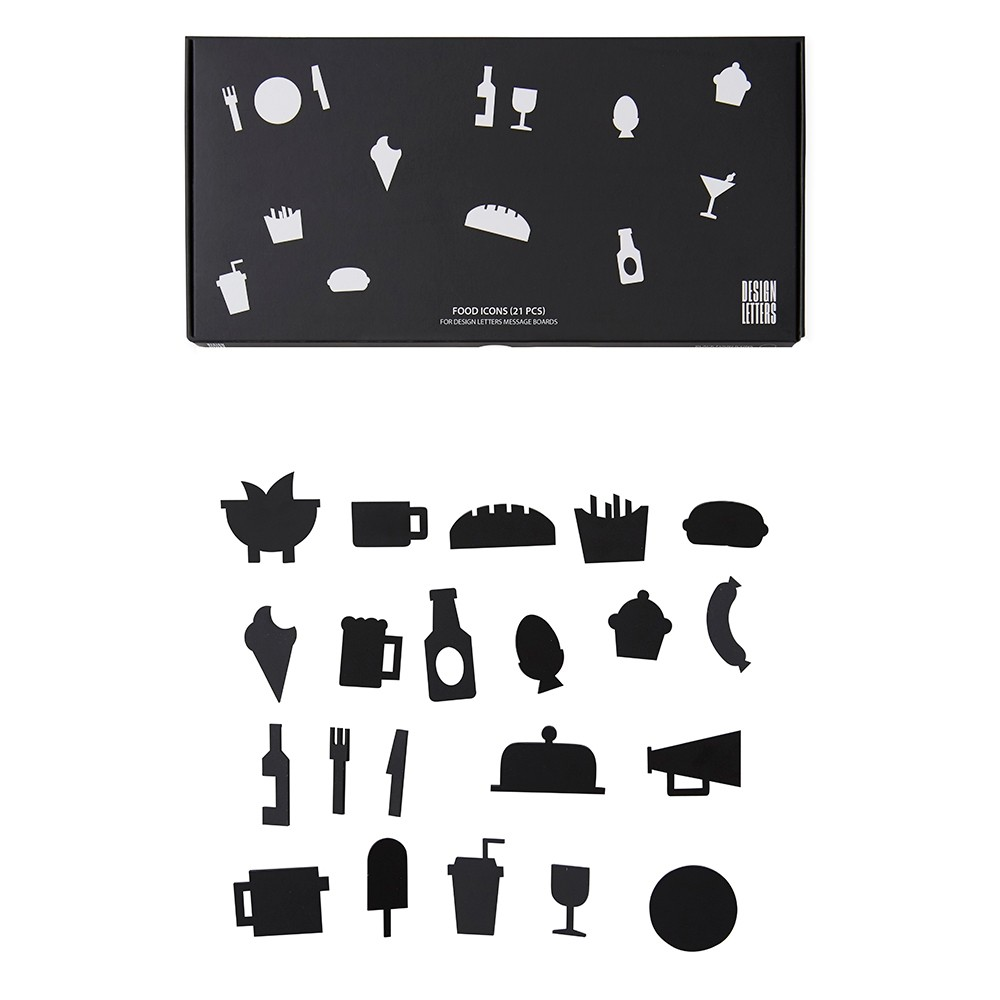 Design Letter Symboler Food Svart