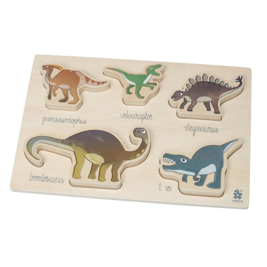 Sebra Träpussel Dino