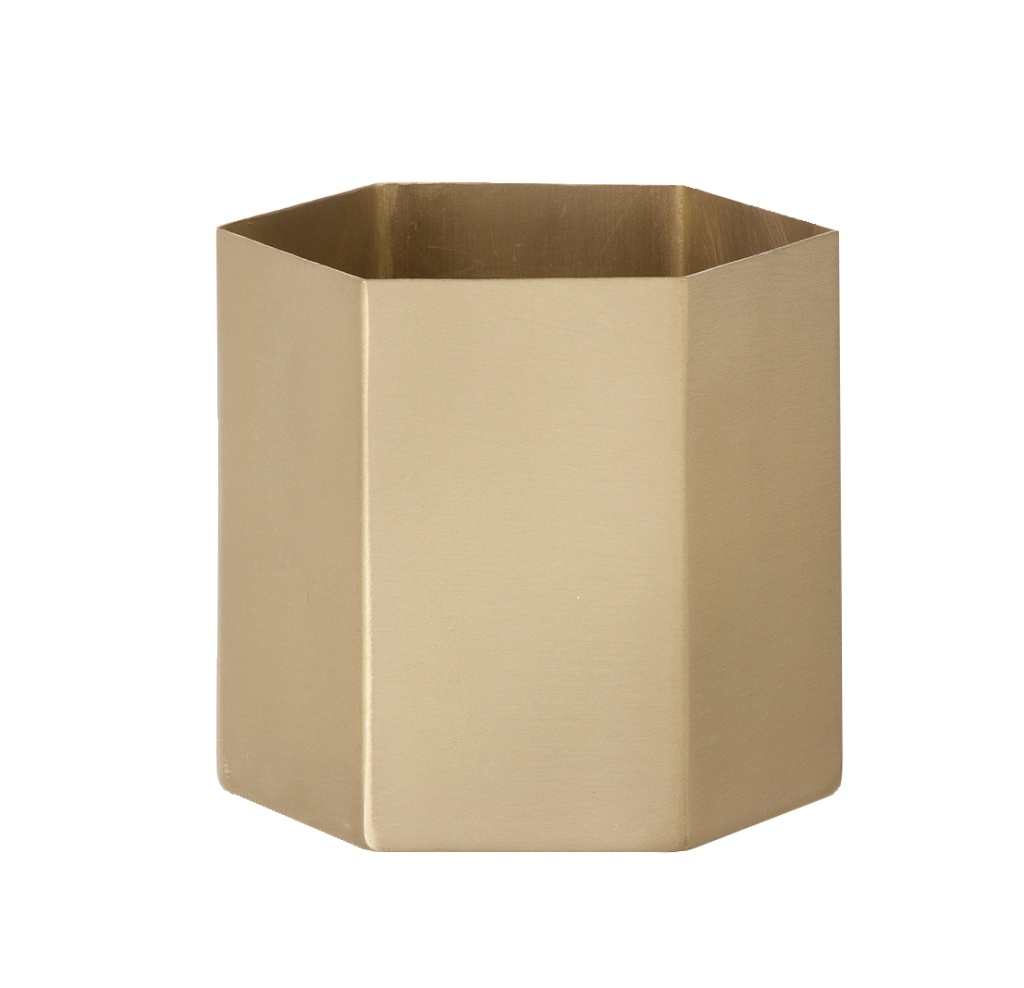 Ferm Living Hexagon Pot Brass Large