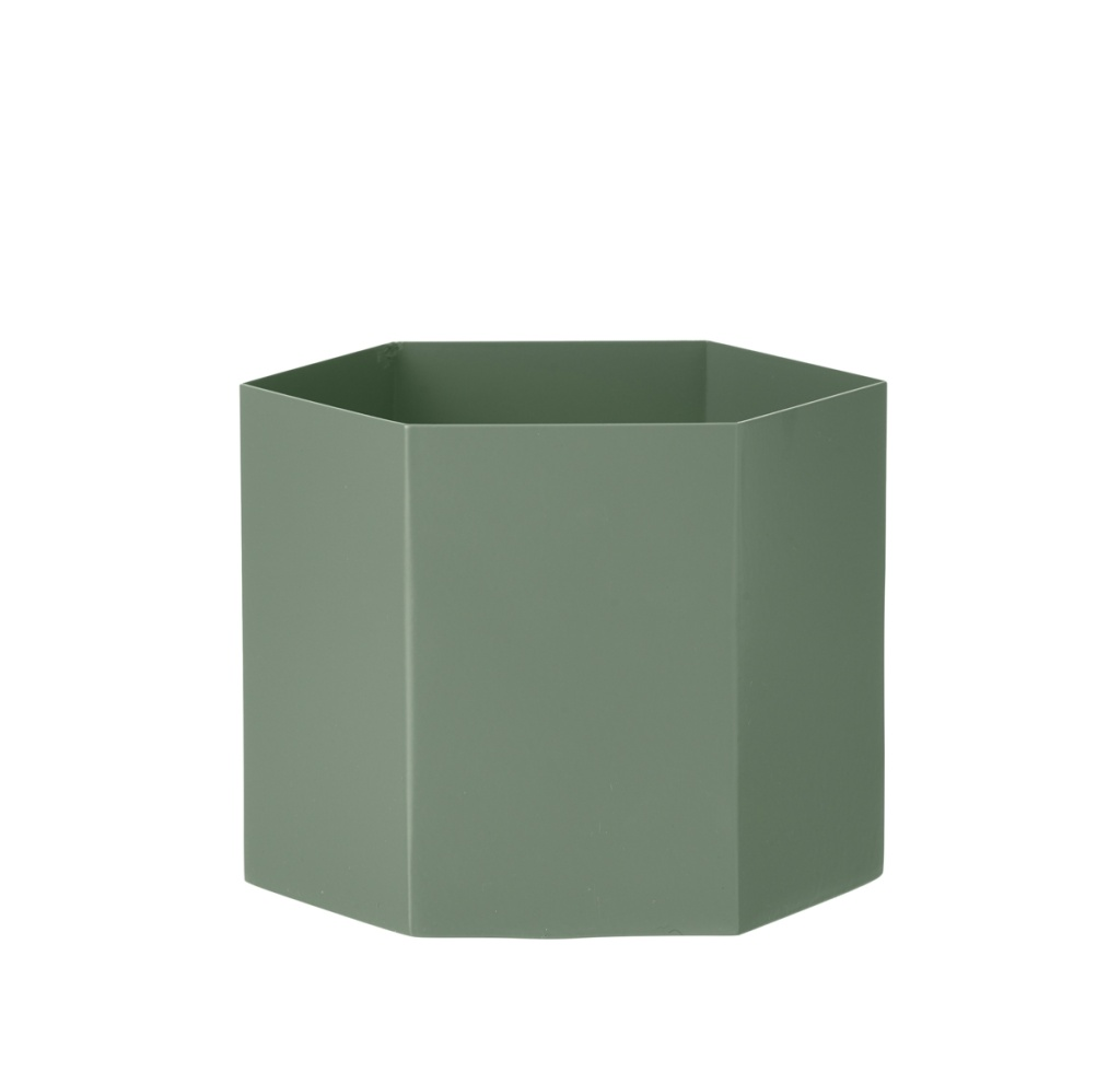 Ferm Living Hexagon Pot Dusty Green Extra Large