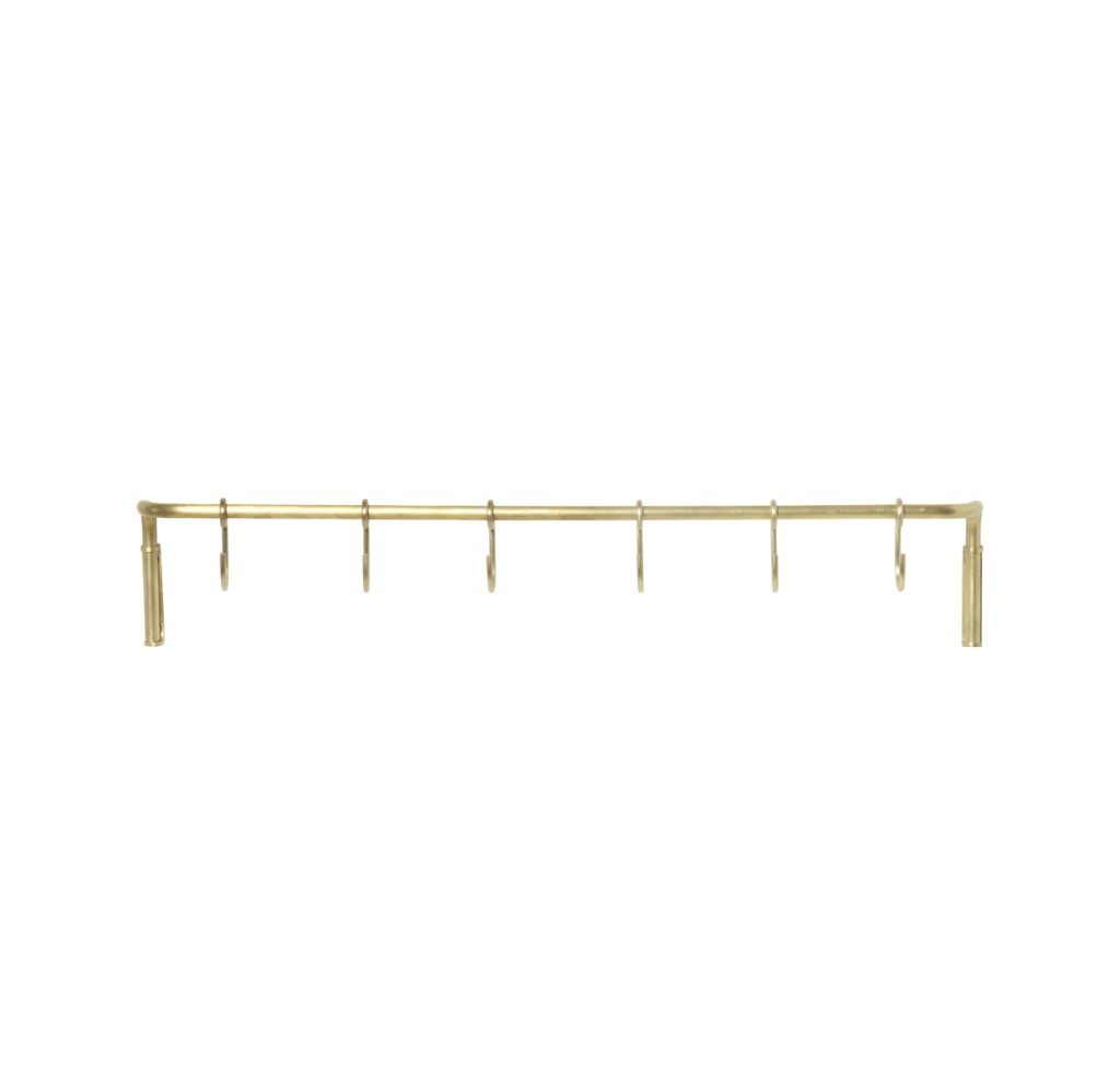 Ferm Living Kitchen Rod incl 6 hooks Brass