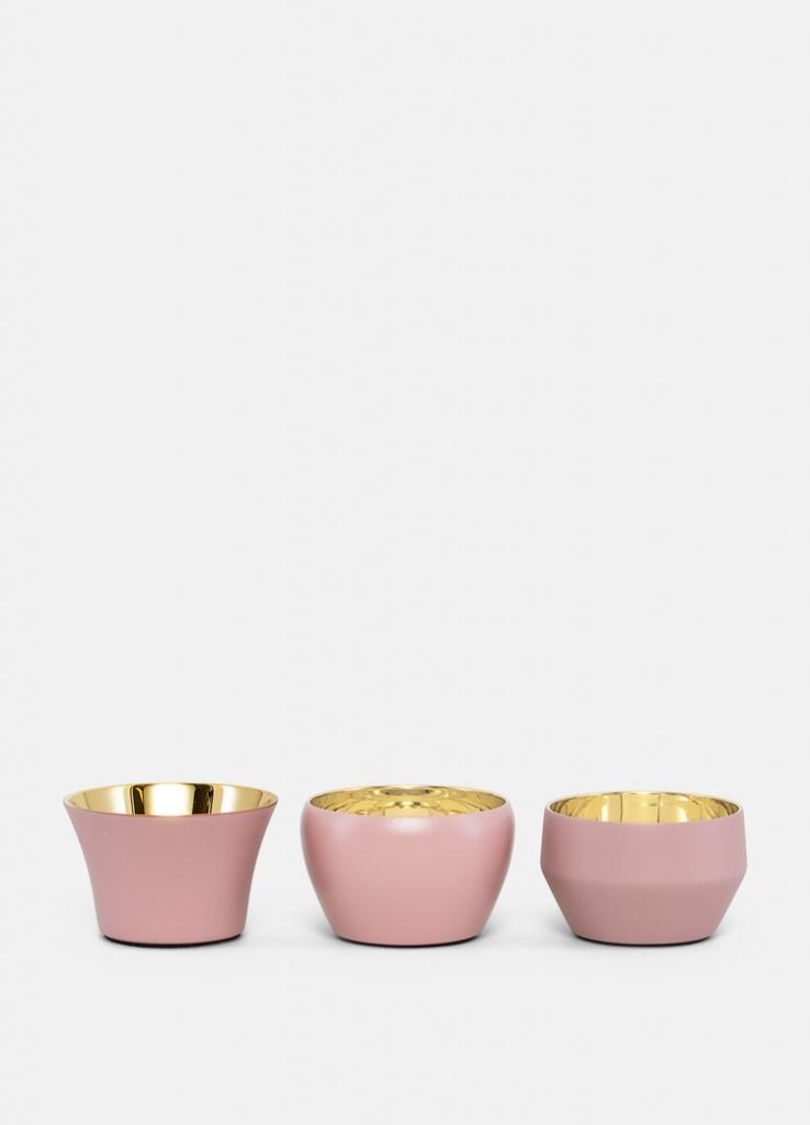Skultuna Kin Ljuslykta 3-pack Brass Dusty pink f175f2df22c20