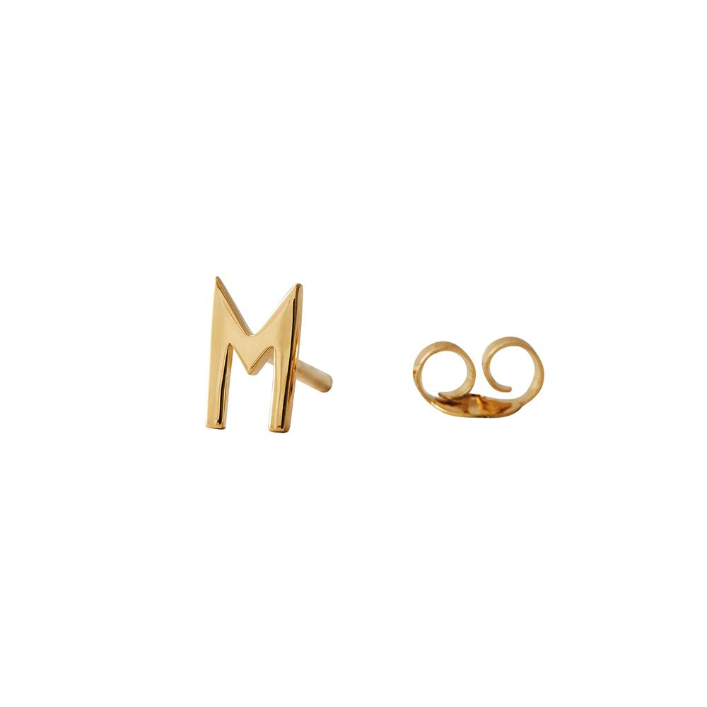 Design Letters Örhänge Guld Bokstav M