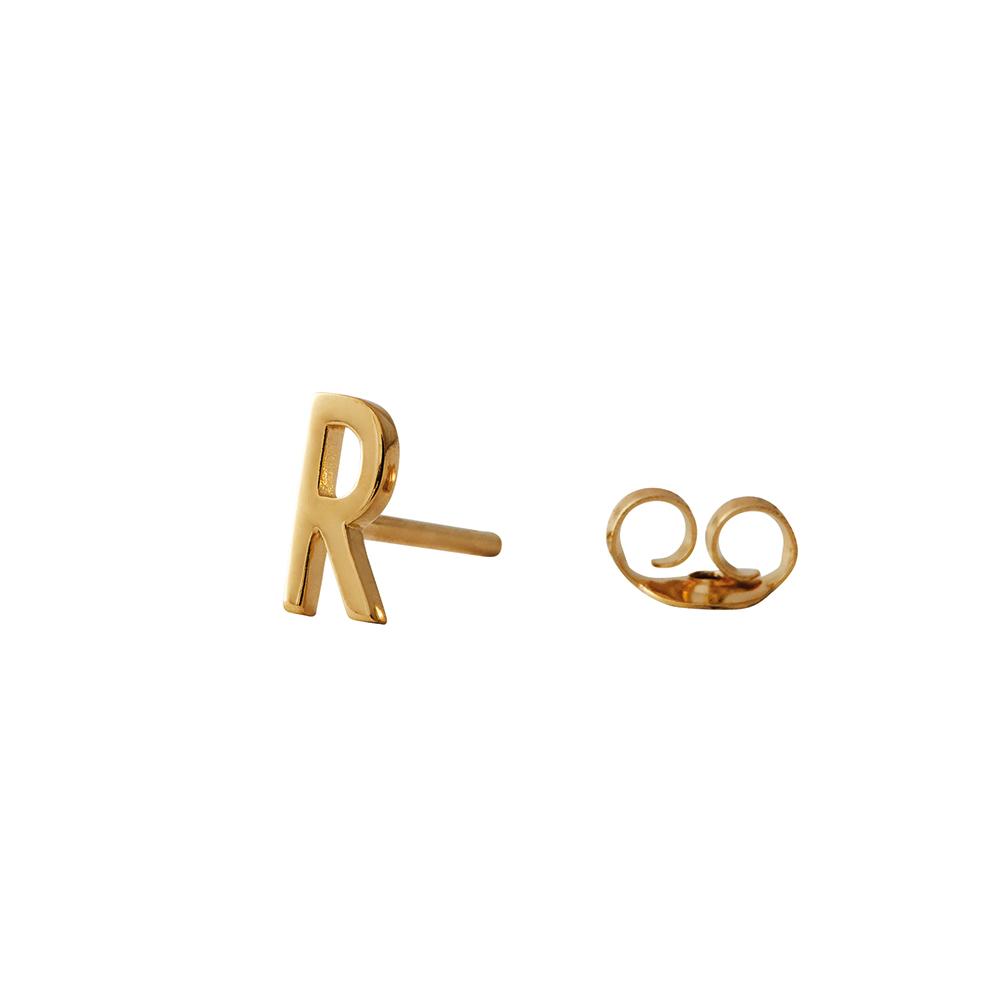 Design Letters Örhänge Guld Bokstav R
