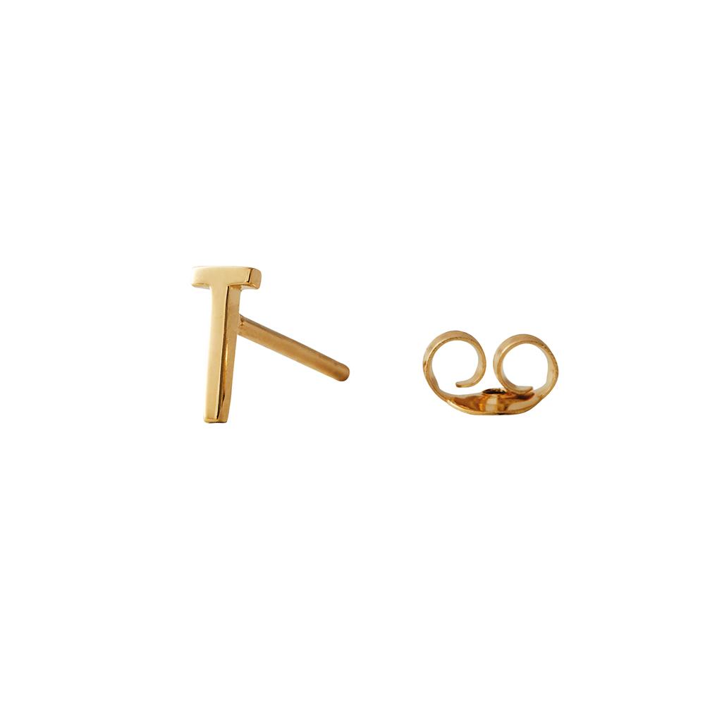Design Letters Örhänge Guld Bokstav T