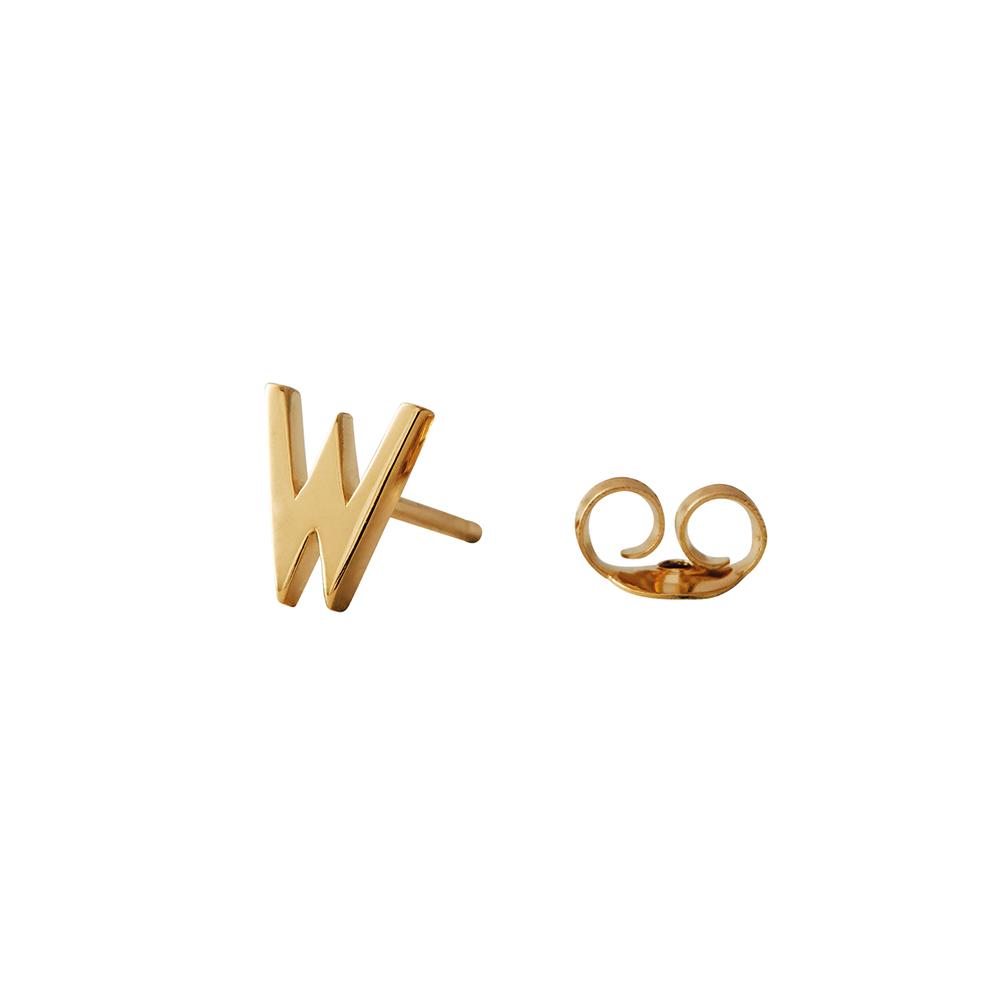 Design Letters Örhänge Guld Bokstav W