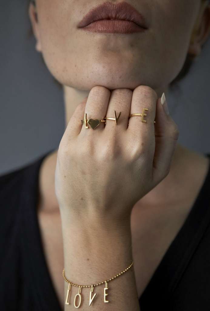 Design Letters Ring Heart Guld